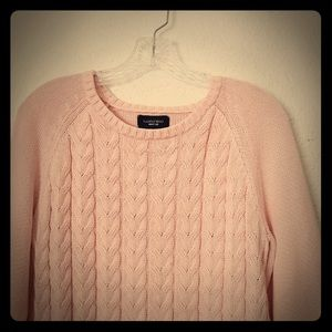 Lands' End Drifter Pink Cable Knit Chunky Sweater